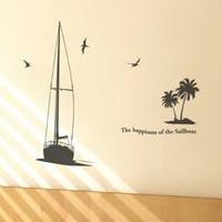 Sail boat sailing boat tv sofa wallpaper wall stickers m082