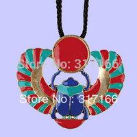 Free Shipping diy fashion  alloy leather cord Enamel Winged Scarab necklace 5pcs