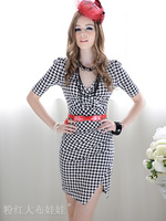 2013 New Arrive plaid dress for women slim casual dress for party