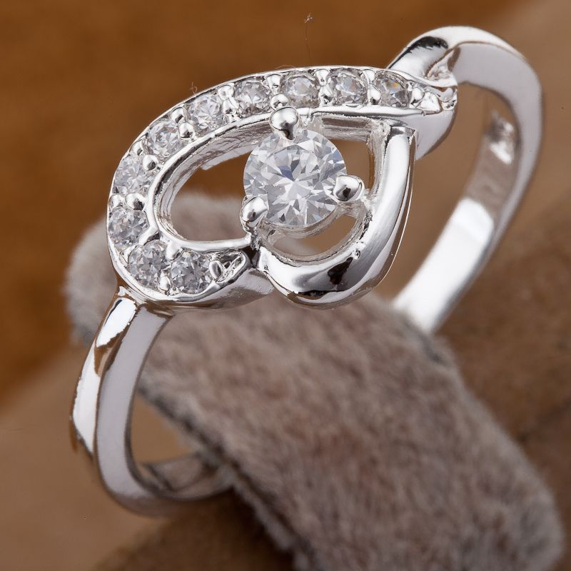 Free shipping! 2013 NEW ! factory price ! Fashion 925 Silver lovely crystal heart design jewelry ring NBR46 Min order 10usd(China (Mainland))