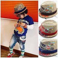 Spring and summer embroidery  child hat male female child baby jazz fedoras hat 4 Color Free shipping.