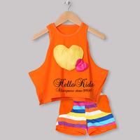 2014 New Spring Baby Girl Clothing Set Orange Printed T Shirt and Short Pants For Children Wear Kids Suit CS30301-19^^HK