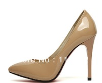 hot sales women's shoes nude patent leather ointed toe high-heeled shoes