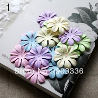4.4cm paper flowers,scrapbook decoration,5 color, 50pcs/ lot, 10 PCS per color,free shipping