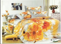 2013 New Beautiful 100% Cotton 4pc Doona Duvet QUILT Cover Set bedding sets Full Queen King size 4pcs hot  white yellow flowers