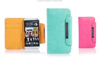 Top quality kalaideng case for HTC ONE M7 Sensation PU leather and faberic cover multi-function wallet cover 6 colors 10PCS