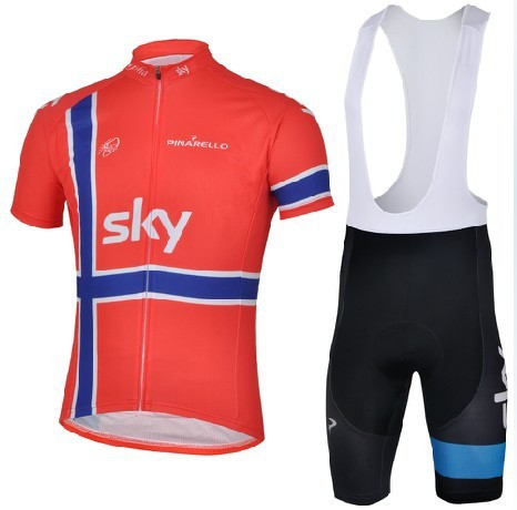 Best Selling SKY Red Team Cycling Jersey+BIB Shorts /Cycle Wear/Bicycle Clothes/Biking Gear/Bike cloth(China (Mainland))
