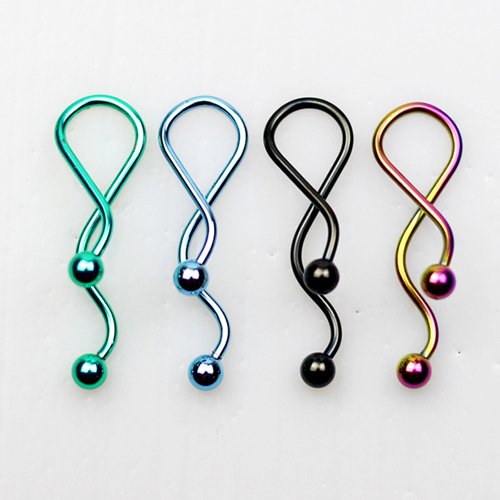 100pcs/lot free ship mixed 5 colors industrial barbell ear body piercing jewelry 316l stainless steel(China (Mainland))