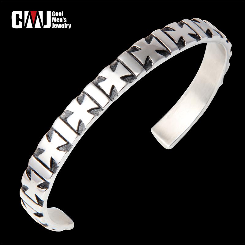 New arrival male fashion plus size titanium bracelet hand ring opening boys bracelet vintage cross