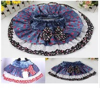 (4 pieces/lot free shipping ) children Denim skirt girls bow apple printing skirts