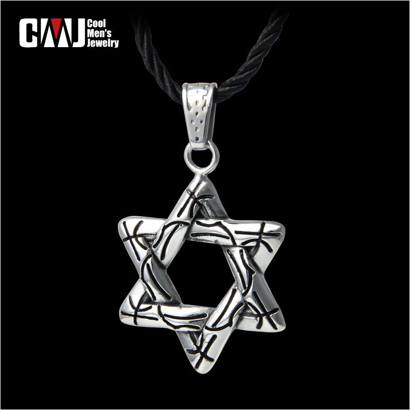 Cmj new arrival hexagram vintage pendant male necklace titanium male fashion accessories