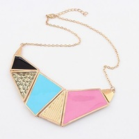 Free airmail shipping Fashion European style Geometry Patchwork Color Block Short Design Necklace N805