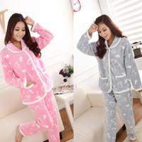 Free shipping Autumn and winter women's sleepwear love coral fleece sleepwear girls long-sleeve sleep set lounge