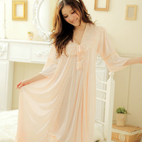 Free shipping Spring women's faux silk robe bathrobes lace sexy summer sleepwear at home service