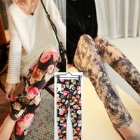 Free Shipping New Spring 2014 Leggings Female Fashion Floral Pattern Leggings Women's Leggings Plus Size  MYB286