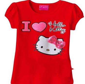 Retail  hello kitty girl tops, i love kitty short sleeve t-shirt with bow,girls t shirt, children/kids clothing, free ship.