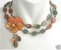 2013 New Beautiful Hot Fashion Jewelry GOLDEN FLOWER AUTUMN JASPER PEARL NECKLACE free shipping