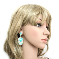 Earrings Europe And The  United States Peach Heart Pearl Crystals Earring Ear Drop Earrings Free ShippingOY130312(E224)