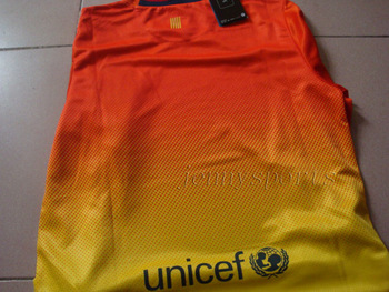 Wholesale Top Thailand quality Player version  LFP Barca 12-13 Away Jersey soccer shirt  can custom  free shipping