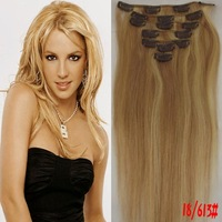 "7PCS Clip in Full Head 100% Remy human hair Extentions15""/18""/20""/22""  Color 18/613#   70Gram wholesale discount/Free Shipping"
