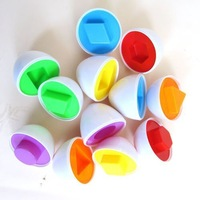 Free shipping! 6 eggs/set  Mixed Shape Wise Pretend Puzzle Smart Eggs Baby Kid Learning Kitchen Toys Tool