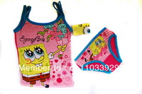 girl spongebob vest+short kids summer suit cartoon clothing set 115176