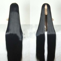 black long straight cosplay Heat-resistan wig 150cm +wig cap