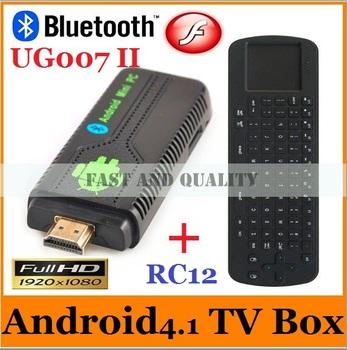 10pcs=5pcs RC12+5pcs UG007 II Android 4.1 Mini PC TV box RK3066 Dual Core Cortex A9 1GB RAM 8GB ROM 3D WiFi Bluetooth dongle