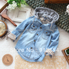 Free shippping Retail new 2013 Spring autumn children shirt baby boy denim shirt cool boys long sleeve shirt casual kids shirts(China (Mainland))