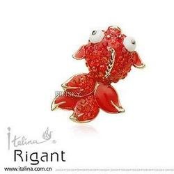 Free shipping ITALINA accessories female brooch corsage pin festive red rhinestone new year gift(China (Mainland))