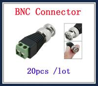 20PCS Coax CAT5 To CCTV BNC Video Balun Jack Connector free shipping !!