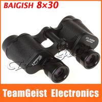 Free Shipping Original Baigish 8x30 Metal Frame BK7 Prism RED FILM Compat Binoculars Optical Telescope with neck strap Camping