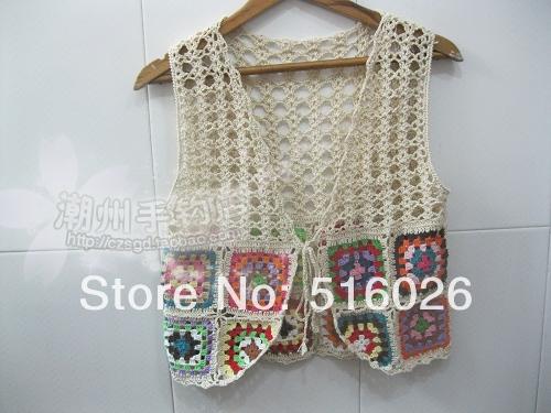 Crochet Granny Square sin mangas, hechos a mano de ...