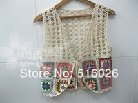 Crochet Granny Square Tank Top, Handmade Crochet Fringed Vest, Beach Cover up, Bolero Jacket