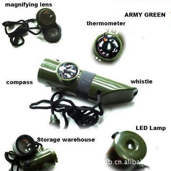 free shipping,Mini outdoor product, camping life-saving whistle,compass,  multifunctional whistle,7 functions tool,