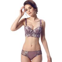 Free Shipping 2013 sexy fasion women push up Seamless Floral lace Bra panty set cotton corset Brassiere underwear lingerie bras