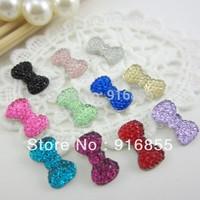 Free shipping new and fashion 500pcs/lot 12.5*7mm bow shape flatback resin rhinestone for DIY decoration