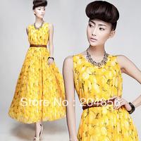 free shipping fashion dress silk chiffon o-neck expansion bottom female bohemia one-piece dress full dress sleeveless tank dress