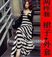 free shipping dress stripe one-piece dress mopping the floor dress full beach V-neck spaghetti strap dress fashion bohemia