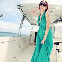 free shipping fashion dress Beach dress bohemia dress full V-neck sleeveless vest full dress jumpsuit