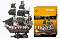 Queen Anne&#39;s revenge, pirate ship model three-dimensional jigsaw puzzle crafts diy, children&#39;s educational toys(China (Mainland))
