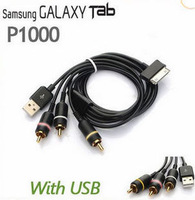 Free Shipping 1.5m New AV TV RCA+USB Audio Video Cable for Samsung Galaxy Tab P1000 p7500 with retail box