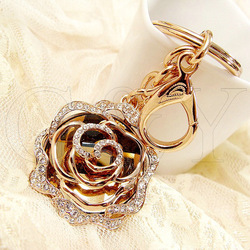 Free shipping VI 18K gold plated big crystal elegant rose car keychain bags pendants women jewelry(China (Mainland))