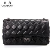 2013 spring women's sheepskin genuine leather handbag plaid chain women's handbag shoulder bag