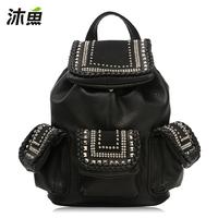 Muyu bags knitted women's 2013 backpack handbag rhinestone women's rivet handbag 30275