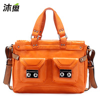 Muyu women's handbag bags 2013 spring rivet handbag messenger bag color block bags 6611
