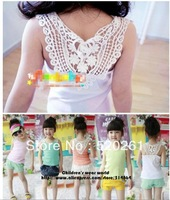 free shipping 2013 new arrival girls summer lace vest cool sleeveless shirt for children summer t shirts