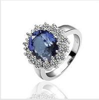 Free Shipping 18KGP  Blue Crystal 18K Gold Plated Ring Health Jewelry Platinum Rhinestone Austrian Crystal SWA Elemen R27