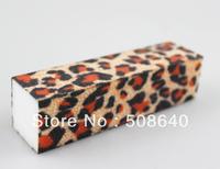 Free Shipping  Leopard Buffer Block Acrylic Nail Art Care Tips Sanding Files Tool 100pcs 4 Ways Shine High Quality Wholesale 471