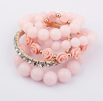 Min. order is $10(mix)Fashion hot sale vintage multilayer charm bead Rose Flower Pearl bangles bracelets SPX2398